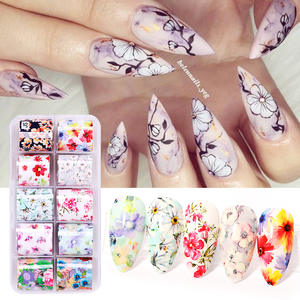 Nail-Foils-Set Spring-Transfer-Stickers Holographics-Decals Flowers Butterflies Papers