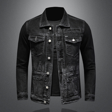 2021 New Spring and Autumn High Quality Men's Solid Color Lapel Single Breasted Slim High Street Long Sleeve Men's Denim Jacket