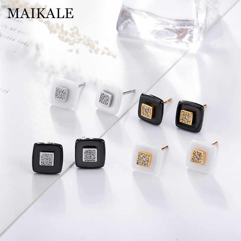Maikale Klasik Square Stud Anting-Anting Keramik AAA Cubic Zirkonia Emas Warna Perak Sederhana Korea Anting-Anting untuk Wanita Mengirim Teman-teman