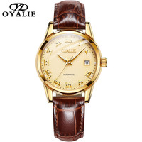 OYALIE Couple Watch Fashion Simple Watch Luxury Automatic mechanical watch genuine leather strap waterproof luminous Lover Watch