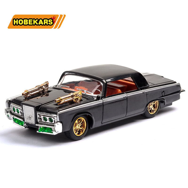 Diecast Car 1966 Chrysler 1/43 Model Metal Alloy Simulation Pull Back Vehicles Cars Lights Toys For Kids Gifts For Children