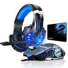 Kotion cada g9000 gaming headset jogo de fone de ouvido estéreo graves profundos com microfone luz led para computador portátil + gaming mouse almofada ratos