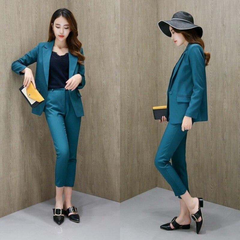 Business Women Pencil Pant Suits 2 Piece Sets Black Blazer+Pencil Pant Office Lady Notched Jacket Female Sets Two-piece Work Set 15
