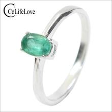 Акция натуральное обручальное кольцо с изумрудом для женщины 0,4 карат 4 мм * 6 мм натуральный изумруд Твердое Серебро 925 пробы изумруд драгоценный камень кольцо