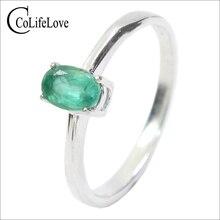 โปรโมชั่นEmeraldงานแต่งงานแหวนผู้หญิง 0.4 Ct 4 มม.* 6 มม.ธรรมชาติI Grade Emerald Solid 925 เงินมรกตอัญมณีแหวน