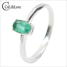 Promotie Natuurlijke Emerald Wedding Ring Voor Vrouw 0.4 Ct 4Mm * 6Mm Natuurlijke I Grade Emerald Solid 925 zilveren Smaragd Edelsteen Ring