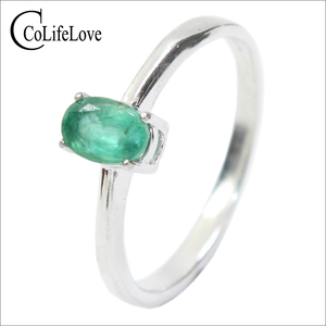 Image 1 - Promotion natural emerald wedding ring for woman 0.4 ct 4mm*6mm natural I grade emerald solid 925 silver emerald gemstone ring