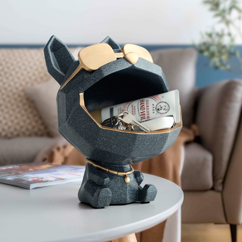 Resina boca grande cão estatuetas decorativas caixa de armazenamento decoração para casa escultura arte moderna accessorie para sala estar