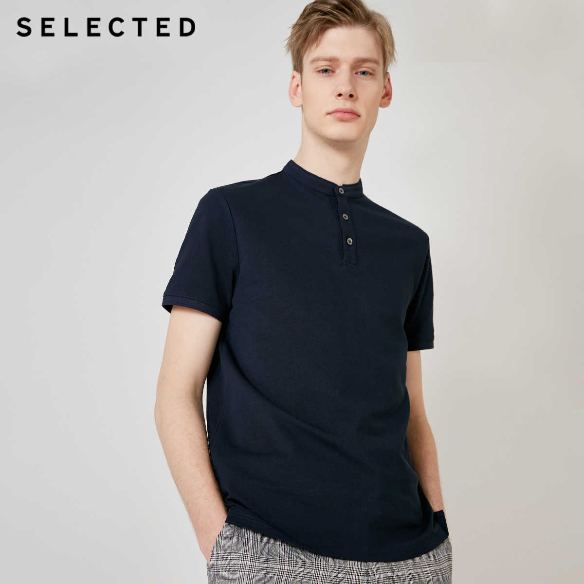SELECTED Men's Pure Color Poloshirt 비즈니스 캐주얼 탑 S | 419206549