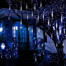 30cm 8 Tubes Meteor Shower Rain Lights LED Falling Rain Fairy String Lights Christmas Wedding Decoration Tree Decor EU/US Plug
