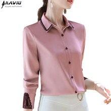전문 셔츠 여성 긴 소매 2020 봄 새로운 기질 레이스 패치 워크 새틴 쉬폰 블라우스 사무실 숙녀 작업 탑스