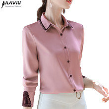 Professional Shirt Women Long Sleeve 2020 Spring New Temperament Lace Patchwork Satin Chiffon Blouses Office Ladies Work Tops