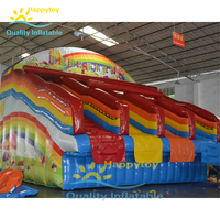 Outdoor commercial inflatable rainbow pool water slide