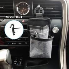 Car Air Vent Storage Bag Organizer Driver Pockets Sunglass Phone Holder Coin Key Card Pens with Data Line Hole Car Hanging Bag