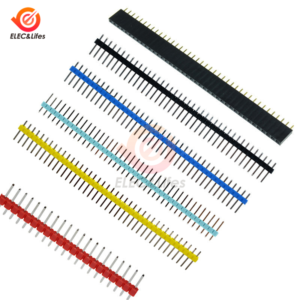 10Pcs 40 Pin Single Row Male / <font><b>Female</b></font> <font><b>2.54mm</b></font> Breakable Pin Header <font><b>Connector</b></font> Strip for Arduino 40Pin Black/Blue/Red/White/Green image