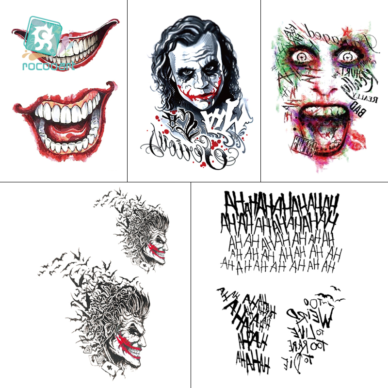 1 Sheet Halloween Cosplay The Joker Temporary Tattoo Stickers Body Art Tattoos For Face Arm Decor 21x15cm+10.5x15cm Size Tattoo