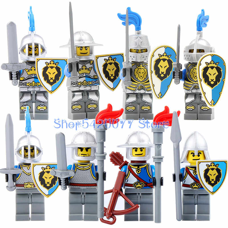Sigle Sale Medieval Castle Knight Blue Lion Knight King KnightArmor Heavy Knight with Weapons Figures Bricks Toys 9801