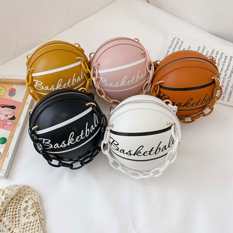 1Pcs Ball Purses For Teenagers Women Shoulder Bags Crossbody Chain Hand Bags Personality Female Leather Pink Basketball Bag 1