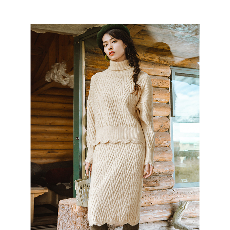 Inverno INMAN Artistico Jacques Tessuto di Alta Collo Allentato Style Due Pezzi Delle Donne Vestito di Pannello Esterno-in Completi da donna da Abbigliamento da donna su  Gruppo 3