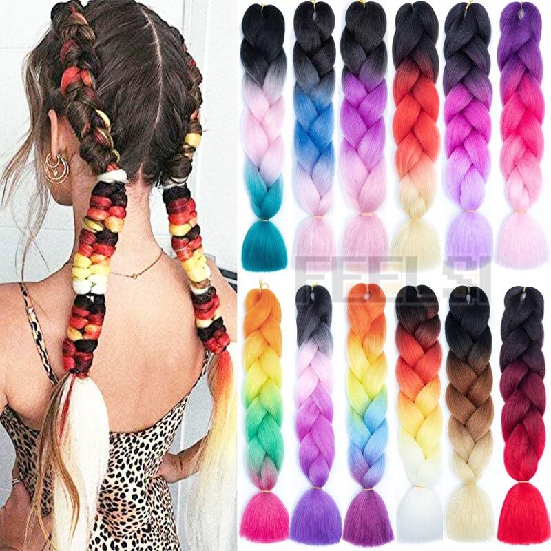 24inch Synthetic Hair Braids Ombre Braiding Hair Extension Box Braids Hair Pink Purple Golden Yellow Colors Crochet Jumbo Braids