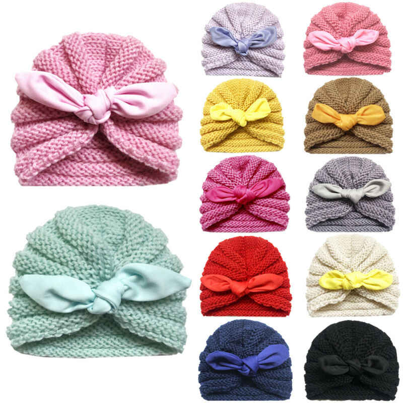 12 สีทารกแรกเกิดเด็กวัยหัดเดินเด็กทารกสาว Turban หมวกถักหมวกฤดูหนาวหมวกน่ารักหมวกอบอุ่นสีสัน