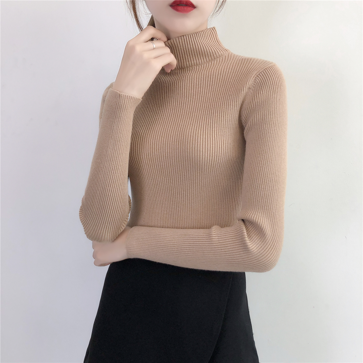 Winter Thick Turtleneck Collar High Elasticity Casual Pullovers Female Knitted Women Sweater Black White