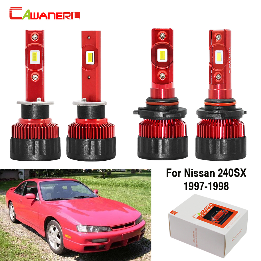 Cawanerl 4 Pieces Car LED Lamp Headlamp 60W 9000LM White 12V Auto <font><b>Headlight</b></font> High Low Beam For Nissan <font><b>240SX</b></font> 1997 1998 image