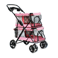 Portable Folding Double layer Pet Stroller for 2 Dogs with Large Space Four wheeled Double Dog Strollers Sale Outdoor Travel