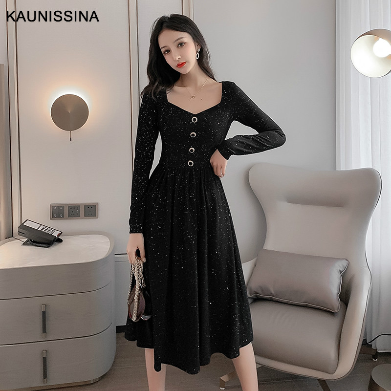 KAUNISSINA Vintage Bling Cocktail Dress Black High Waist Party Prom Gowns Long Sleeve Buttons Spring Graduation Banquet Dresses