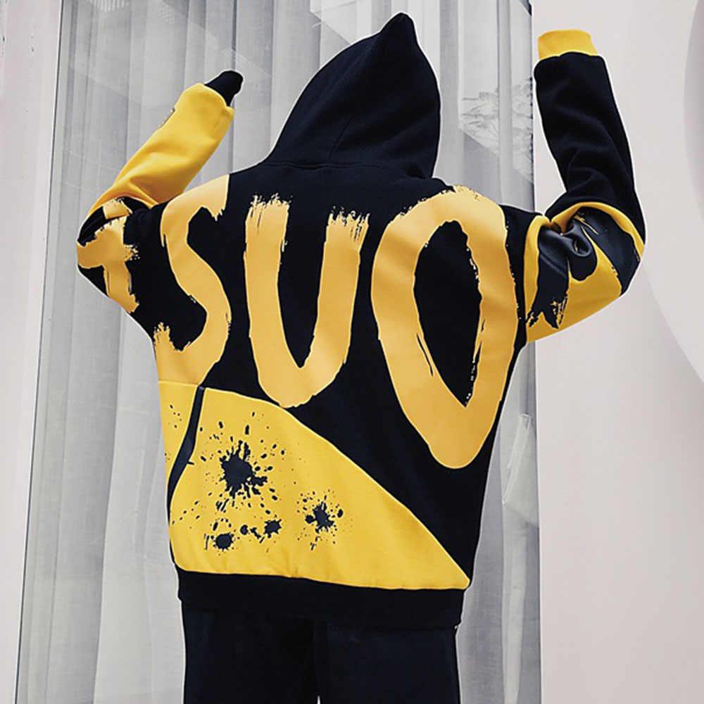 BF Стиль оверсайз толстовки для женщин осень зима плюс бархат Теплый принт пуловер с капюшоном Корея хип-хоп BTS уличная Толстовка 2XL