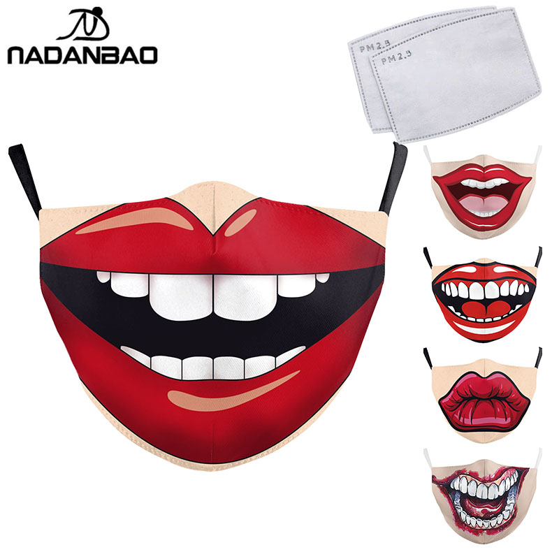 NADANBAO Sexy Women Mouth Masks Print Funny Face Mask Washable PM 2.5 Protection Dust Reusable Masks Fashion Mouth Cover