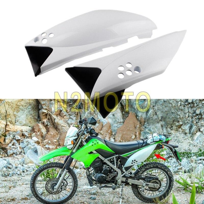 For Kawasaki KLX150 KLX 150 White Rear Side Panel Fairing Body Cover Frame Case Guard Plastic Motorcycle Side Cowl Fairing