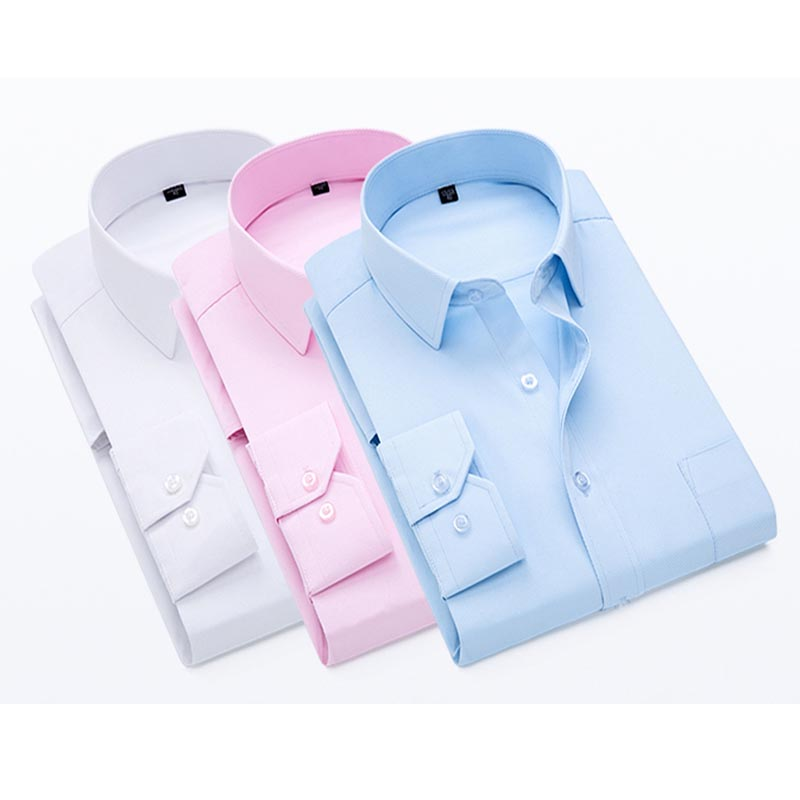 Mens Work Shirts Brand Soft Long Sleeve Square Collar Regular Solid Plain/ Twill Men Dress Shirts White Male Tops