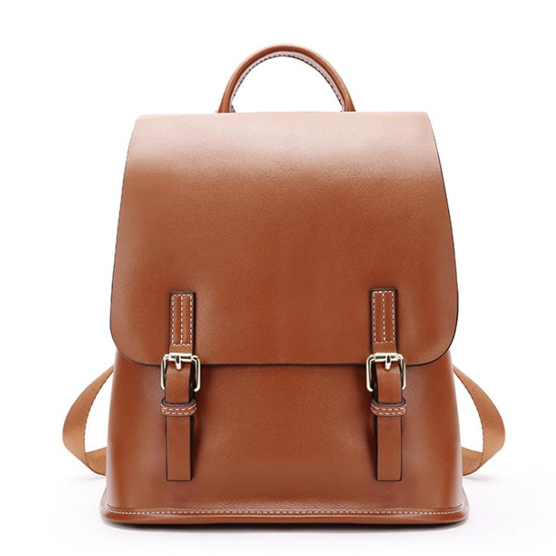 Shoulder Bag Handbag Leather Large Capacity Wild Korean Leisure Travel Bag Ladies Dual-use Backpack Soft Leather Large