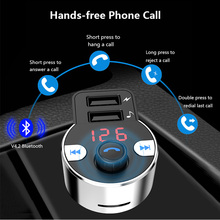 HK203 Car Handsfree Wireless Bluetooth Kit FM Transmitter LCD Car MP3 Player USB Charger FM Modulator Auto Parts Voice broadcast все цены