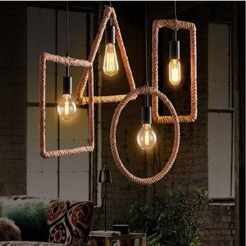 Vintage Industrieel Touwlamp 1