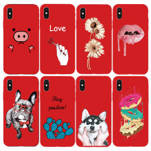 Cartoon Painted Phone Bag For Cover iphone 6 6S 5S SE 5 Cover Funda TPU Soft Silicone Coque For iphone 7 8 7plus Red Protector(China)