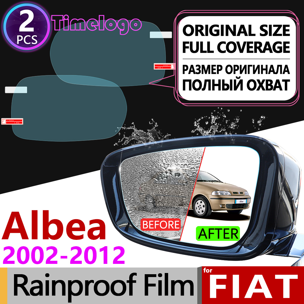 For Fiat Albea 2002~2012 Full Cover Anti Fog Film Rearview Mirror Anti-Fog Films Accessories 2003 2005 2006 2007 2008 2009 2010