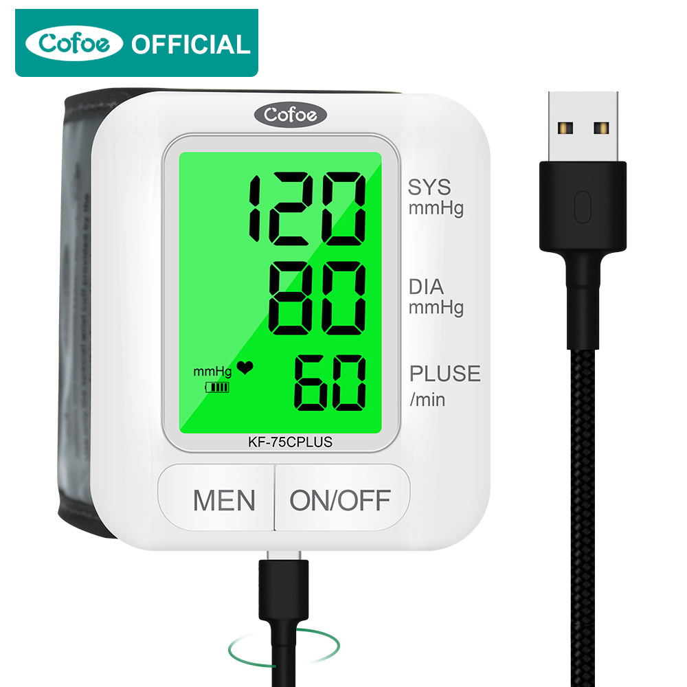Cofoe Wrist Blood Pressure Monitor upgrade automatic sphygmometer voice three-color backlight heart rate and pulse health care 1