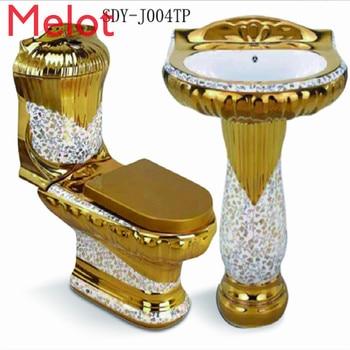 online shopping ceramic gold toilet bidet basin color set