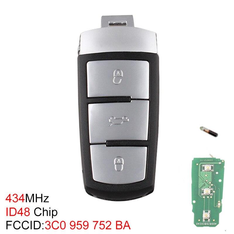 Image 2 - 434 МГц 3 кнопки без ключа Uncut Флип умный Автомобильный Брелок дистанционного управления с ключом с ID48 чип 3C0959752BA для VW Passat B6 3C B7 Magotan CC-in Ключ авто from Автомобили и мотоциклы