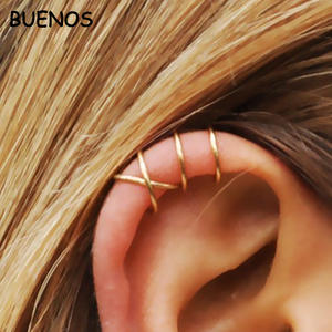 BUENOS Clip Earrings Non-Piercing Jewelry Ear-Cuff Punk Gold Cross Cartilage Fashion