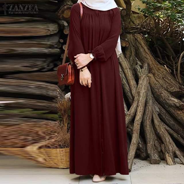 ZANZEA Women Vintage Dubai Abaya Turkey Hijab Dress Autumn Sundress Solid Muslim Islamic Clothing Long Sleeve Maxi Long Dress 3