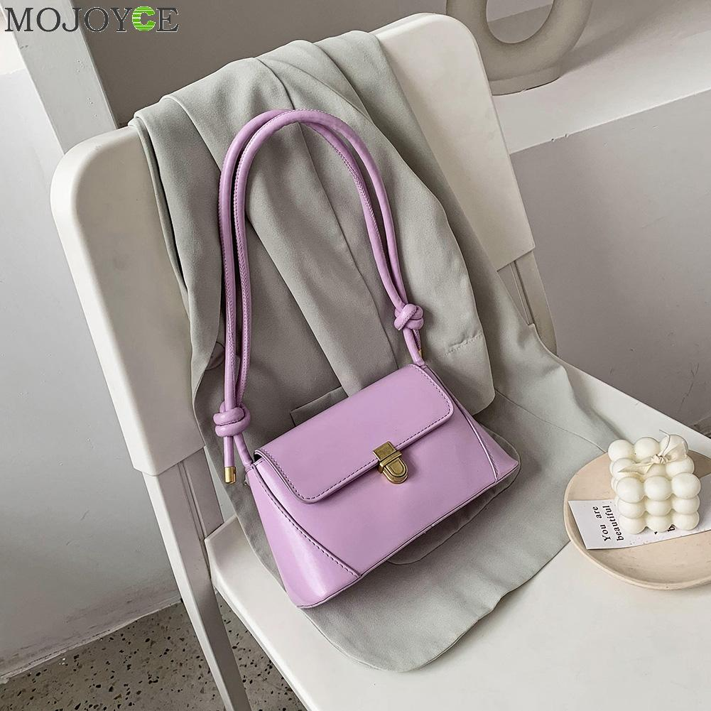 Women Fashion Shoulder Bags PU Leather Solid Color Tie Messenger Tote Handbag For Outdoor Shopping Traveling Ornaments