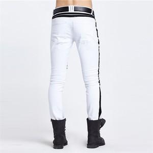 Image 3 - 2020 אישיות סקיני ג ינס לגברים לבן שחור טלאים Ripped מכנסיים אופנה מקרית Slim Fit Biker היפ הופ מכנסיים