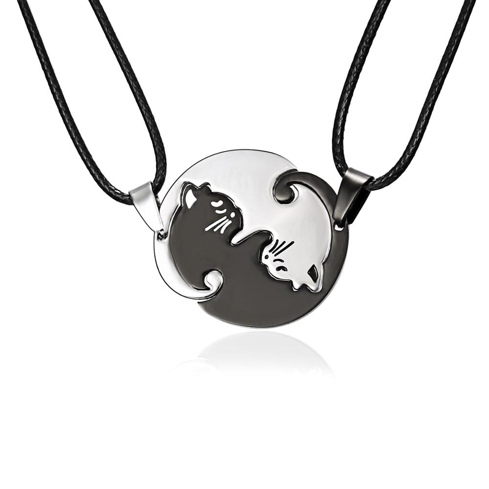 Rinhoo Vintage Couples bijoux colliers noir blanc Couple collier classique Yin Yang corollaire Animal chat pendentif collier