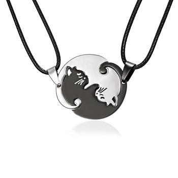 Rinhoo Vintage pary naszyjniki biżuteria czarny biały naszyjnik dla par klasyczny Yin Yang Corollary zwierząt wisiorek z kotem naszyjnik