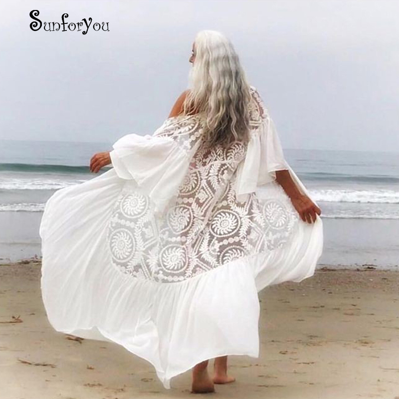 New Sexy Lace Beach Cover Up Chiffon Patchwork Women Causal Summer Beachwear White Bikini Cover Up Kaftans Beach Tunic Pareos