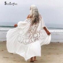 ใหม่เซ็กซี่ลูกไม้ผ้าชีฟอง Patchwork ผู้หญิงสบายๆฤดูร้อน Beachwear สีขาวบิกินี่ COVER UP Kaftans Beach Tunic Pareos