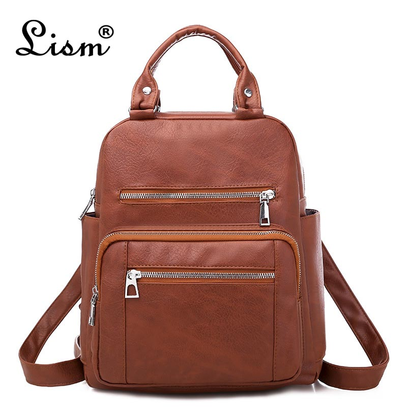 2020 New Brand Ladies Backpack Youth Student Multifunctional Schoolbag Designer Ladies High Quality PU Leather Travel Bag 6 Colo